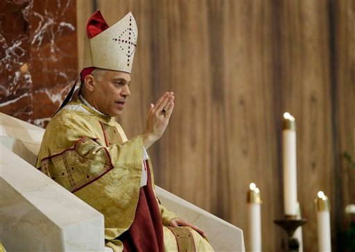 Salvatore J. Cordileone gives a blessing sing during a ceremony to install him as the new archbishop of San Francisco at the Cathedral of St. Mary of the Assumption in San Francisco.