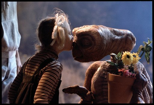 "© This undated publicity film image released by Universal Pictures shows Drew Barrymore as Gertie and E.T. in a scene from director Steven Spielberg's ""E.T.: The Extra-Terrestrial."""