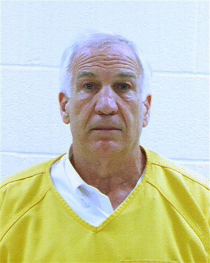 This file booking photo provided by the Centre County Correctional Facility in Bellefonte, Pa., shows former Penn State University assistant football coach Jerry Sandusky. (AP Photo/Centre County Correctional Facility, File)