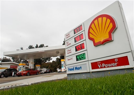 © Gas prices approach $5.00 a gallon at a Shell Station Monday, Oct. 8, 2012 in Encinitas, Calif. Gas prices across California have risen dramatically in the past week.