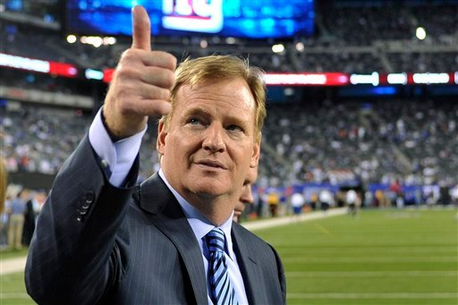 In this Sept. 5, 2012, file photo, Commissioner Roger Goodell gestures to fans before an NFL football game between the New York Giants and the Dallas Cowboys in East Rutherford, N.J. (AP Photo/Bill Kostroun, File)