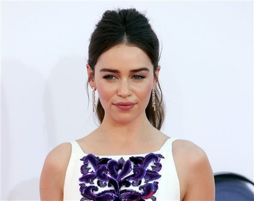 "This Sept. 23, 2012 file photo shows Emilia Clarke from ""Game of Thrones"" arriving at the 64th Primetime Emmy Awards at the Nokia Theatre in Los Angeles. (Photo by Matt Sayles/Invision/AP, file)"