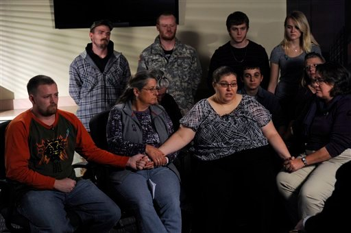 The family of Jessica Ridgeway gathers at the Westminster Police Department in Westminster, Colo., on Tuesday, Oct. 9, 2012, to talk about Jessica and ask for her safe return. (AP Photo/The Denver Post, Kathryn Scott Osler, Pool)