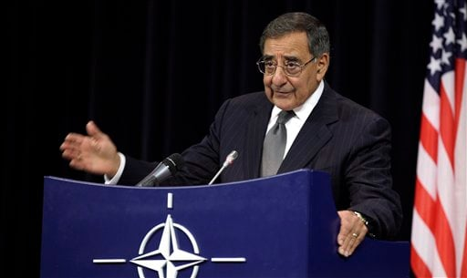 In this photo taken Oct. 10, 2012, Defense Secretary Leon Panetta speaks at NATO headquarters in Brussels. (AP Photo/Virginia Mayo)