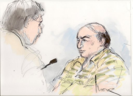 FILE - This Sept. 27, 2012, file courtroom sketch shows Mark Basseley Youssef, right, talking with his attorney Steven Seiden in court. (AP Photo/Mona Shafer Edwards, File)