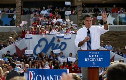 © Republican presidential candidate and former Massachusetts Gov. Mitt Romney campaigns at Shawnee State University in Portsmouth, Ohio, Saturday, Oct. 13, 2012. (AP Photo/Charles Dharapak)