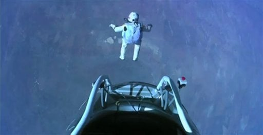 © In a giant leap from more than 24 miles up, Baumgartner shattered the sound barrier Sunday while making the highest jump ever — a tumbling, death-defying plunge from a balloon to a safe landing in the New Mexico desert.