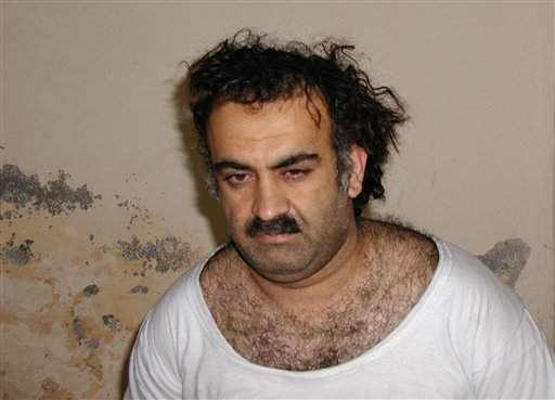 © In this March 1, 2003, file photo, obtained by the Associated Press, Khalid Sheikh Mohammed, the alleged Sept. 11 mastermind, is seen shortly after his capture during a raid in Pakistan.