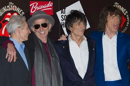 © This Thursday, July 12, 2012 file photo shows, from left, Charlie Watts, Keith Richards, Ronnie Wood and Mick Jagger, from the British Rock band, The Rolling Stones, as they arrive at a central London venue.