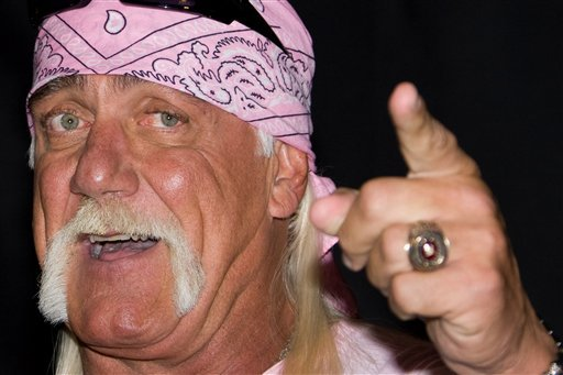FILE - In this Oct. 27, 2009 file photo, Hulk Hogan attends a news conference to announce his return to wrestling with TNA Wrestling held at Madison Square Garden in New York. (AP Photo/Charles Sykes)