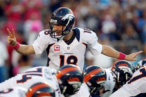 © Denver Broncos quarterback Peyton Manning motions to teammates during the first half of an NFL football game against the San Diego Chargers, Monday, Oct. 15, 2012, in San Diego.
