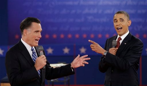 © President Barack Obama and Republican presidential candidate Mitt Romney exchange views during the second presidential debate at Hofstra University, Tuesday, Oct. 16, 2012, in Hempstead, N.Y. (AP Photo/David Goldman)