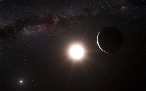 This artist's impression made available by the European Southern Observatory on Tuesday, Oct. 16, 2012 shows a planet, right, orbiting the star Alpha Centauri B, center, a member of the triple star system that is the closest to Earth. (AP Photo)