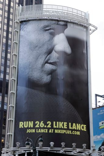 "In an 80-foot billboard at 34th Street and 7th Avenue in Manhattan, Lance Armstrong and Nike challenge New Yorkers to ""Run Like Lance"" in an Oct. 2, 2006 file photo. (PRNewsFoto/NIKE, Inc., File)"