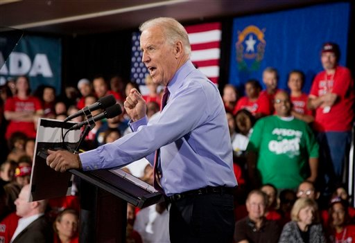 Vice President Joe Biden speaks during a campaign rally at the Culinary Academy Events Center, Thursday, Oct. 18, 2012, in Las Vegas. (AP Photo/Julie Jacobson)