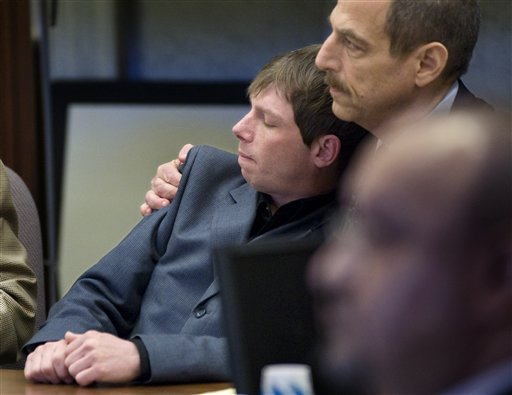 FILE - In this April 13, 2010 file photo, Kerry Lewis, left, leans into his lawyer, Paul Mones, in a Portland, Ore., courtroom after a jury found the Boy Scouts of America negligent for repeated sexual abuse by an assistant Scoutmaster in the 1980s. (AP)