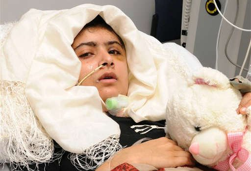 © In this undated image released by the University Hospitals Birmingham NHS Foundation Trust, on Friday Oct. 19, 2012, showing 15-year old Pakistani shooting victim Malala Yousufzai, who is recovering in Queen Elizabeth Hospital in Birmingham, England.