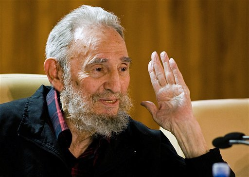 FILE - In this Feb. 10, 2012 file photo released by the state media website Cubadebate, Cuba's leader Fidel Castro speaks during a meeting with intellectuals and writers at the International Book Fair in Havana, Cuba. (AP Photo/Cubadebate)