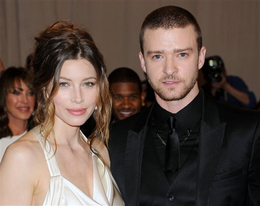 FILE - This May 3, 2010 file photo shows actress Jessica Biel and actor-singerJustin Timberlake at the Metropolitan Museum of Art Costume Institute gala in New York. (AP Photo/Evan Agostini, file)