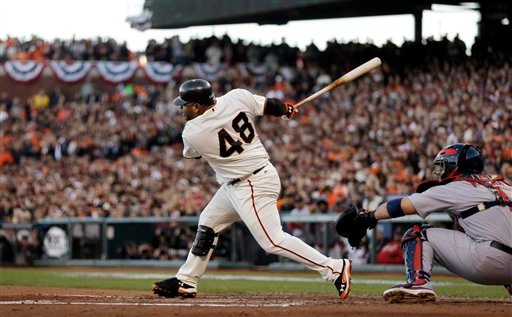© San Francisco Giants' Pablo Sandoval hits an RBI single during the second inning of Game 6 of baseball's National League championship series against the St. Louis Cardinals Sunday, Oct. 21, 2012, in San Francisco.