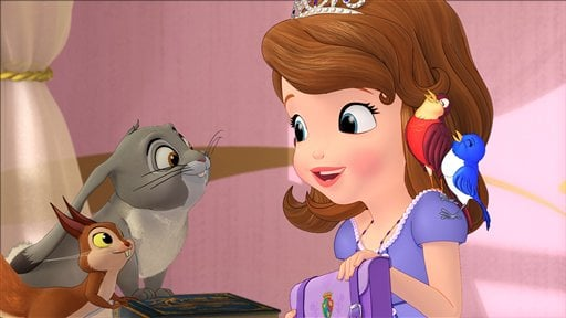 """This undated publicity photo released by Disney Junior, shows the character Princess Sofia, right, who stars in a TV animated movie titled """"Sofia the First: Once Upon a Princess,"""" airing Sunday, Nov. 18, 2012  on the Disney Channel. (AP Photo)"""