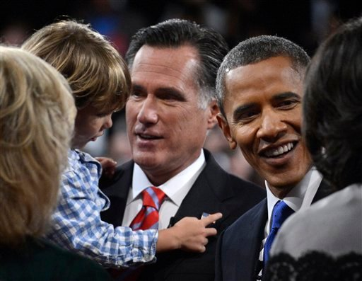 © President Barack Obama and Republican presidential nominee Mitt Romney meet family members after the third presidential debate at Lynn University, Monday, Oct. 22, 2012, in Boca Raton, Fla.