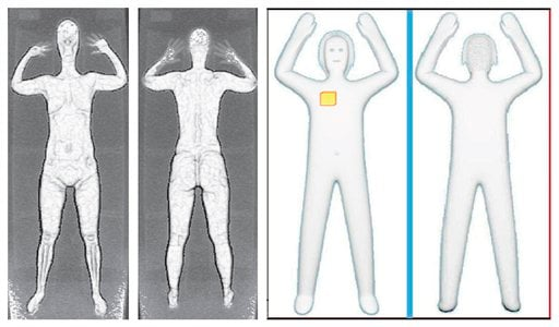 These two sets of images provided by the Transportation Security Administration are samples that show details of what TSA officers see on computer monitors when passengers pass through airport body scanners. (AP Photo)