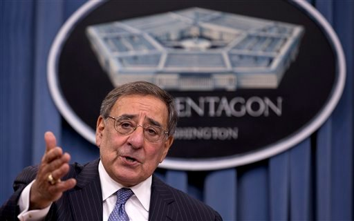 Defense Secretary Leon Panetta gestures as he speaks during a joint news conference with Joint Chiefs Chairman Gen. Martin Dempsey, not seen, at the Pentagon, Thursday, Oct. 25, 2012. (AP Photo/Carolyn Kaster)