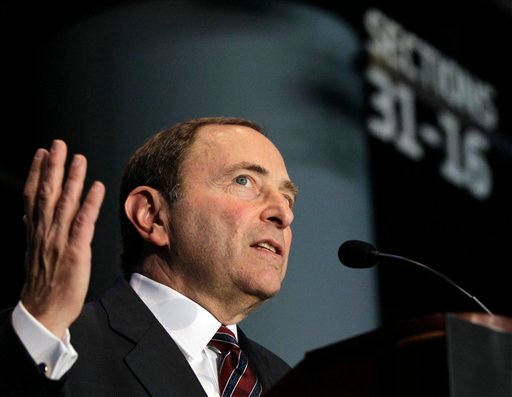 National Hockey League Commissioner Gary Bettman speaks during a press conference, Wednesday, Oct. 24, 2012 in New York, announcing that the Islanders hockey club will move from Nassau Veterans Memorial Coliseum in Uniondale, N.Y. (AP)
