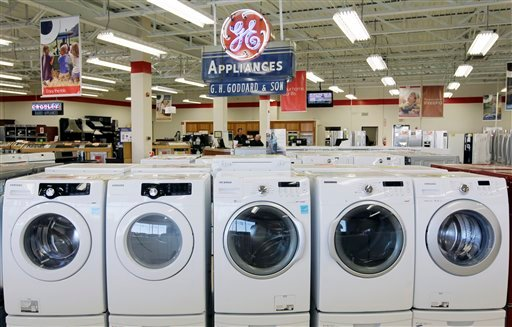 © This Oct. 25, 2012 photo shows appliances on display at Orville's Home Appliances store in Amherst, N.Y. The government's snapshot Friday, Oct. 26, 2012, of the U.S. economy's growth will be its last before Americans choose a president in 11 days.