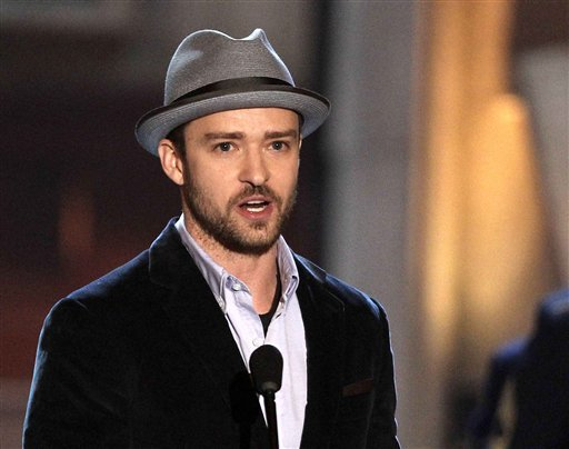 FILE - This June 2, 2012 file photo shows actor-singer Justin Timberlake accepting the troops' choice for entertainer of the year award at the 2012 Guys Choice Awards in Culver City, Calif. (Photo by Matt Sayles/Invision/AP, file)