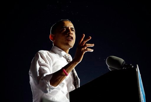 © In this Oct. 25, 2012 file photo, President Barack Obama speaks to supporters at a campaign event at Cleveland Burke Lakefront Airport, in Cleveland Ohio.