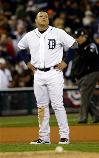 Detroit Tigers' Miguel Cabrera reacts after flying out with bases loaded to end the fifth inning of Game 3 of baseball's World Series against the San Francisco Giants Saturday, Oct. 27, 2012, in Detroit.