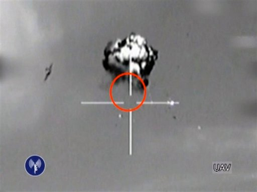 © Saturday, Oct. 6, 2012 file image made from video released by the Israeli Defense Forces shows the downing of a drone that entered Israeli airspace in southern Israel.