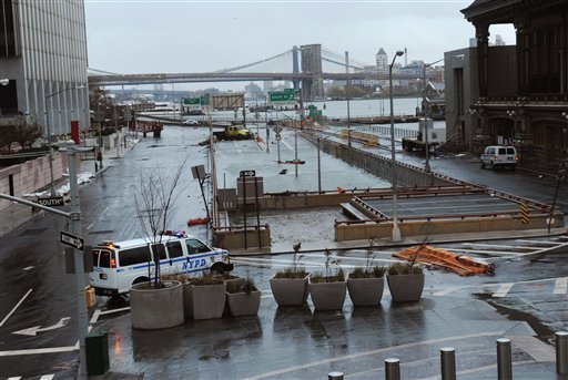 © Water reaches the street level of the Battery Park Underpass, Tuesday, Oct. 30, 2012, in New York.