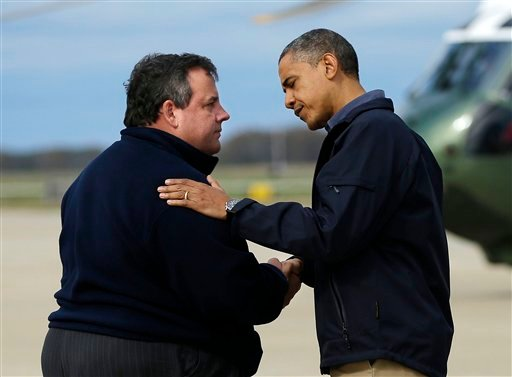 President Barack Obama is greeted by New Jersey Gov. Chris Christie upon his arrival at Atlantic City International Airport, Wednesday, Oct. 31, 2012, in Atlantic City, NJ.  (AP Photo/Pablo Martinez Monsivais)
