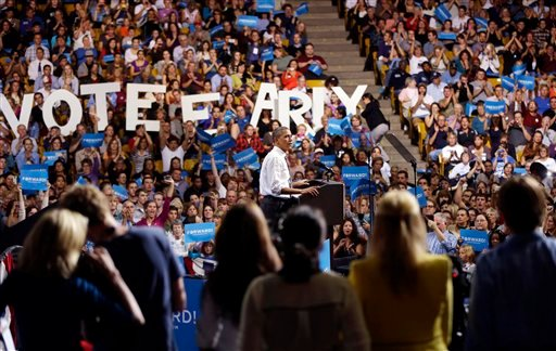 © President Barack Obama speaks during a campaign event at the University of Colorado - Boulder, Thursday, Nov. 1, 2012, in Boulder Colo.