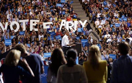 © President Barack Obama speaks during a campaign event at the University of Colorado - Boulder, Thursday, Nov. 1, 2012, in Boulder Colo.