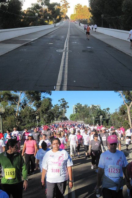 © Race For The Cure 2012: Before and during shot of participants on Laurel Street.