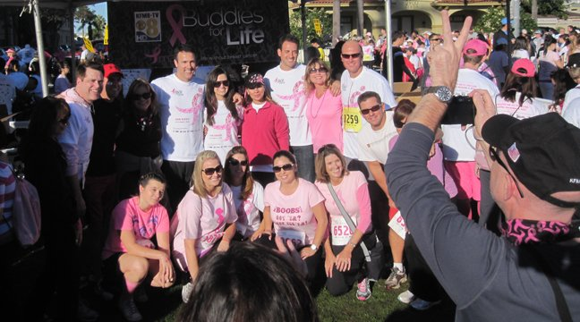 © Most of the CBS 8 crew, posing for a shot before the festivities begin. Missing: Barbara-Lee Edwards, who was at  the starting line to sound the horn.
