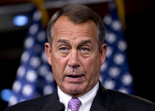 FILE - In this Sept. 21, 2012 file photo, House Speaker John Boehner of Ohio meets with reporter on Capitol Hill in Washington. (AP Photo/J. Scott Applewhite, File)