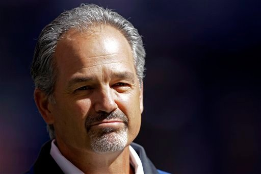 ©  In this Sept. 23, 2012, file photo, Indianapolis Colts head coach Chuck Pagano appears before an NFL football game against the Jacksonville Jaguars in Indianapolis.