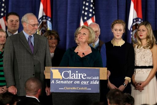 Sen. Claire McCaskill, D-Mo., looks up as she talks about her mother, Betty Anne McCaskill, who recently passed away, while declaring victory over challenger Rep. Todd Akin, R-Mo., in the Missouri Senate race Nov. 6, 2012. (AP Photo/Jeff Roberson)