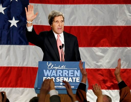 FILE - This Nov. 6, 2012 file photo shows Senate Foreign Relations Committee Chairman, Sen. John Kerry waveing after speaking during an election night rally for Sen.-elect Elizabeth Warren, D-Mass. (AP Photo/Michael Dwyer, File)