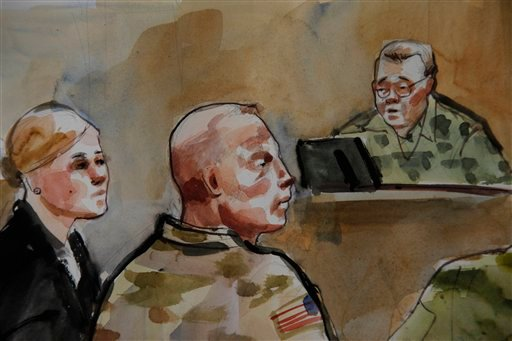© -In this detail of a courtroom sketch, U.S. Army Staff Sgt. Robert Bales, center, is shown Monday, Nov. 5, 2012, during a preliminary hearing in a military courtroom at Joint Base Lewis McChord in Washington state.