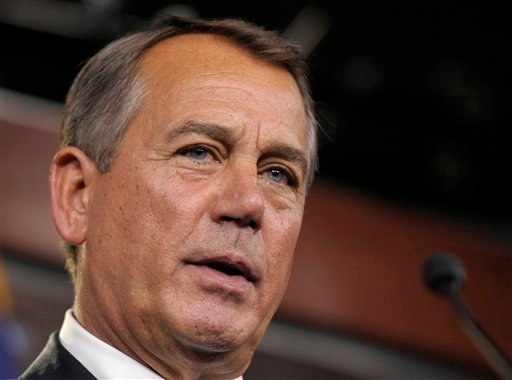 FILE - This Nov. 9, 2012 file photo shows House Speaker John Boehner of Ohio speaking during a news conference on Capitol Hill in Washington. (AP Photo/Susan Walsh, File)