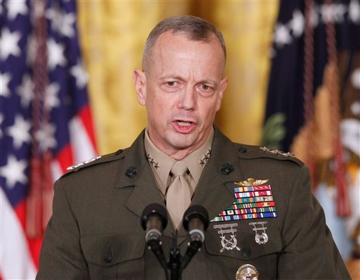 FILE -- In an April 28, 2011 file photo Marine Corps Lt. Gen. John Allen, speaks in the East Room of the White House in Washington. (AP Photo/Charles Dharapak/file)