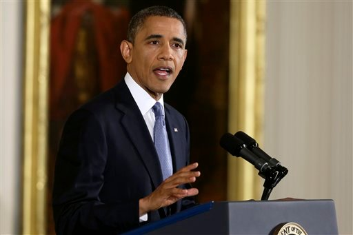 President Barack Obama makes an opening statement during his news conference, Wednesday, Nov. 14, 2012, in the East Room of the White House in Washington. (AP Photo/Charles Dharapak)