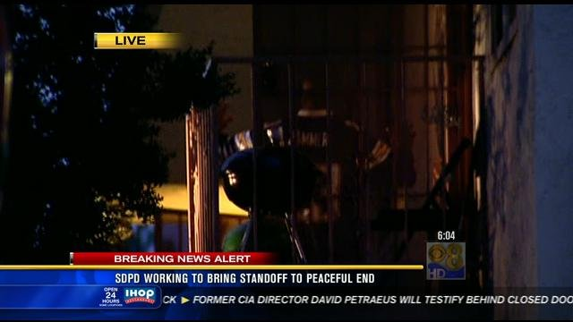 This is a video image of the suspect surrendering to police after a six hour standoff at an Encanto apartment, Thursday, November 15, 2012.