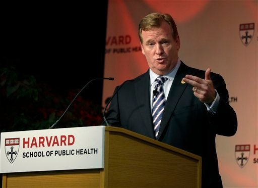 NFL football commissioner Roger Goodell delivers a Dean's Distinguished Lecture at Harvard School of Public Health in Boston, Thursday, Nov. 15, 2012. (AP Photo)